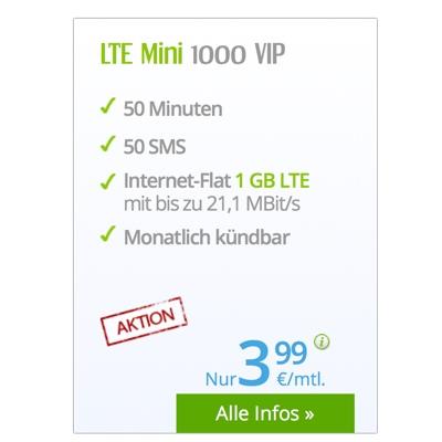 günstiger Smartphone Tarif winSIM LTE Mini 1000 für Vielsurfer