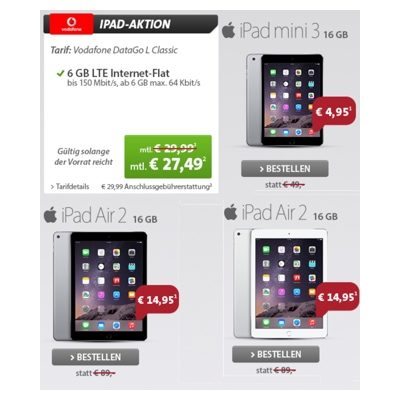 günstige LTE Internetflat Vodafone mit Apple iPad mini oder Air