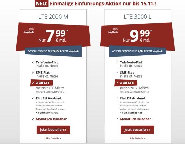 Handyflat 2GB Allnet Flat Eu Flat günstiger bestellen