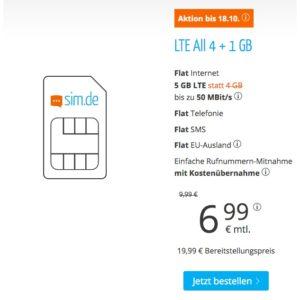 5 GB Allnet Flat ohne Mindestvertragslaufzeit
